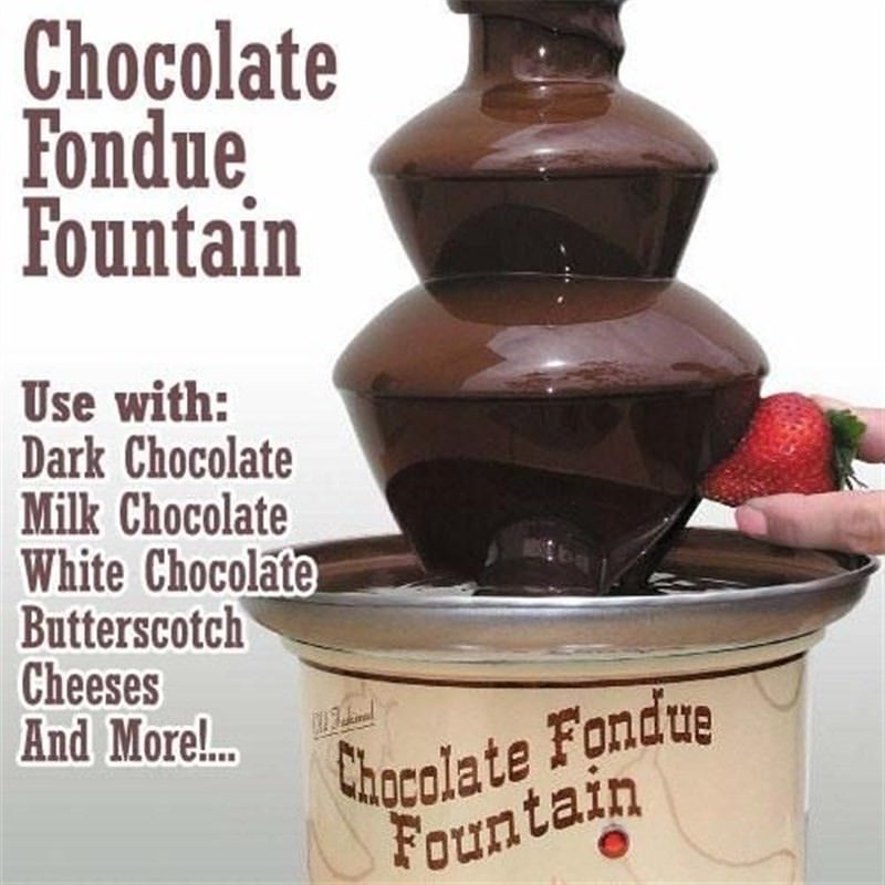 Chocolate Fondue Fountain - Serves Melted Chocolate and Cheese for dipping foods at your next Dinner