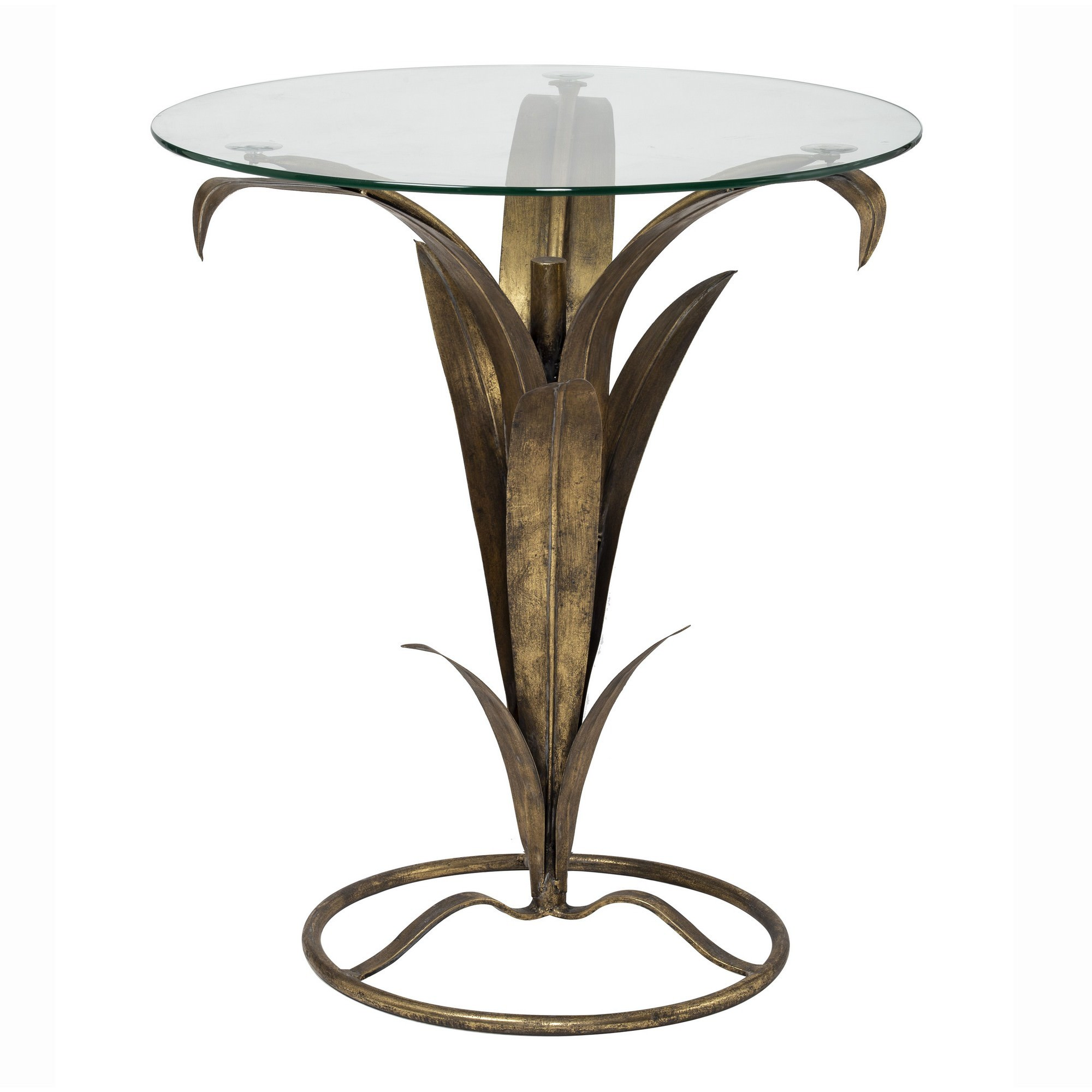 Leslie Handmade Glass Topped Metal Round Side Table