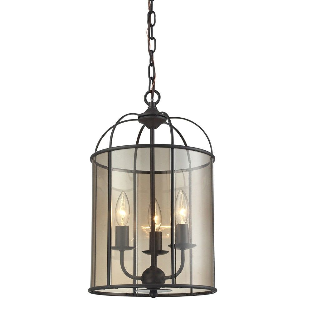Upton Steel & Glass Pendant Light, Medium, Oil Rubbed Bronze