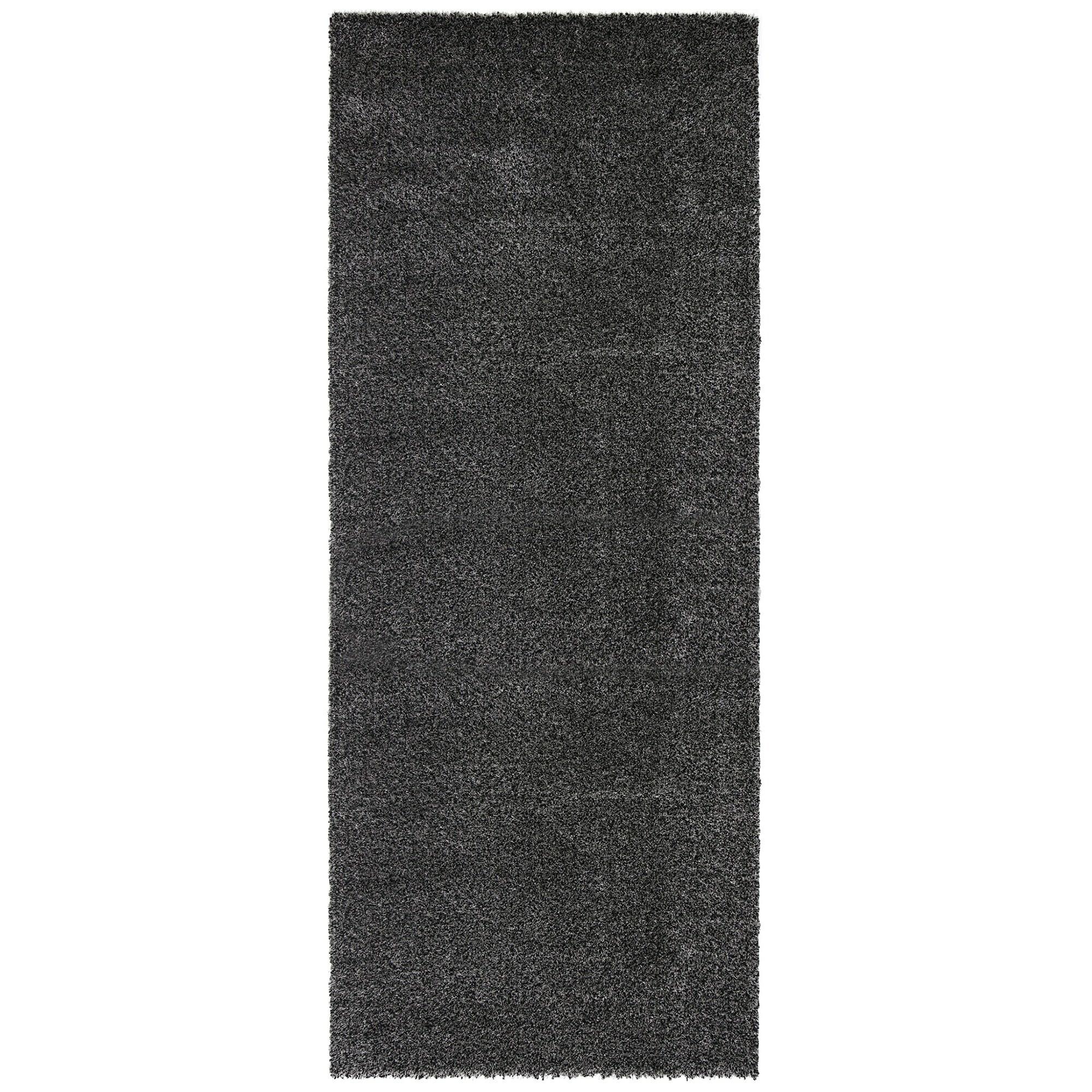 Siesta Plain Shaggy Runner Rug, 80x200cm, Charcoal