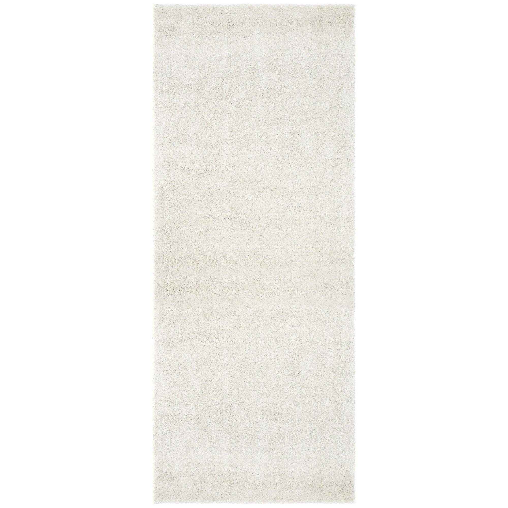 Siesta Plain Shaggy Runner Rug, 80x200cm, Cream