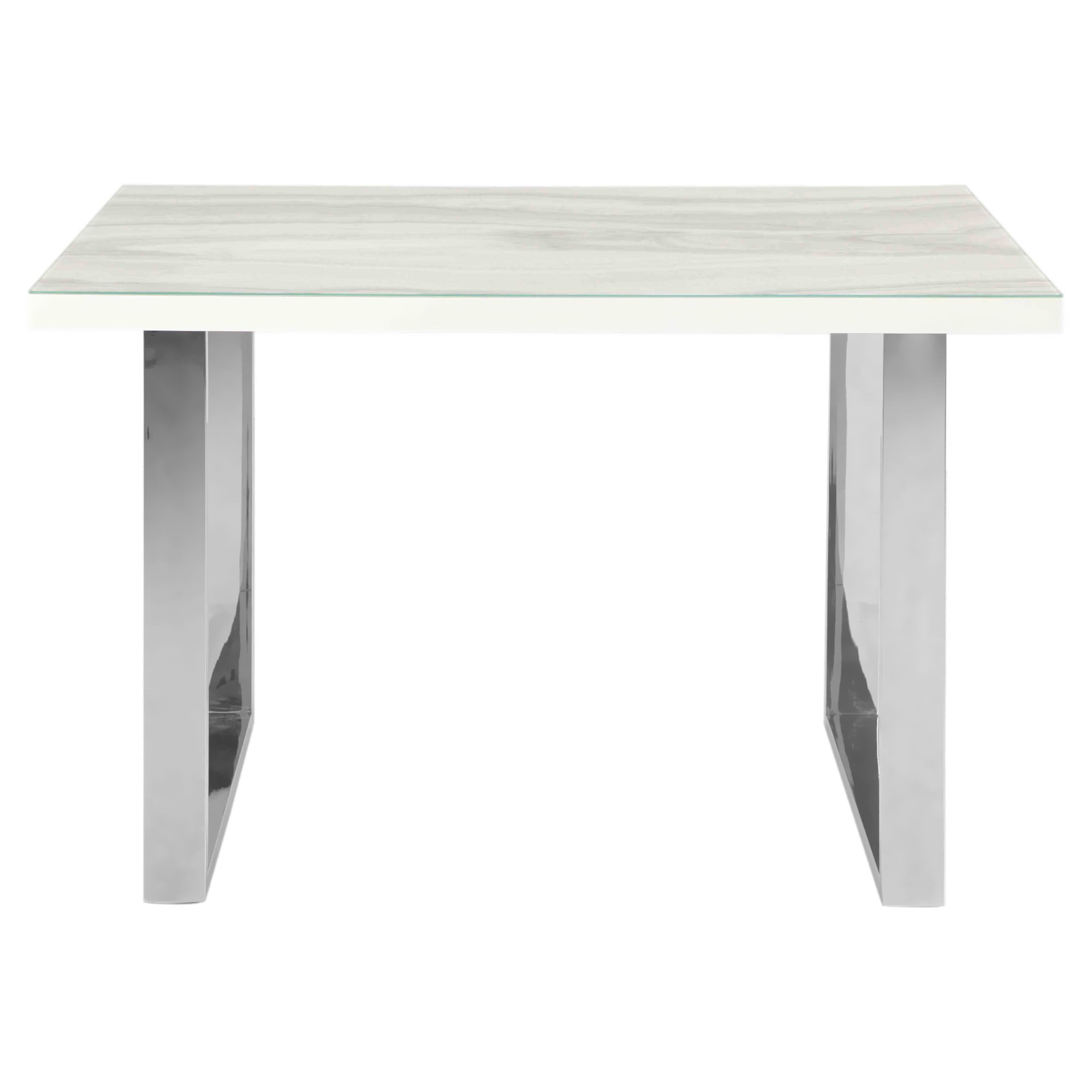 Luna Tempered Glass Topped Dining Table, 180cm