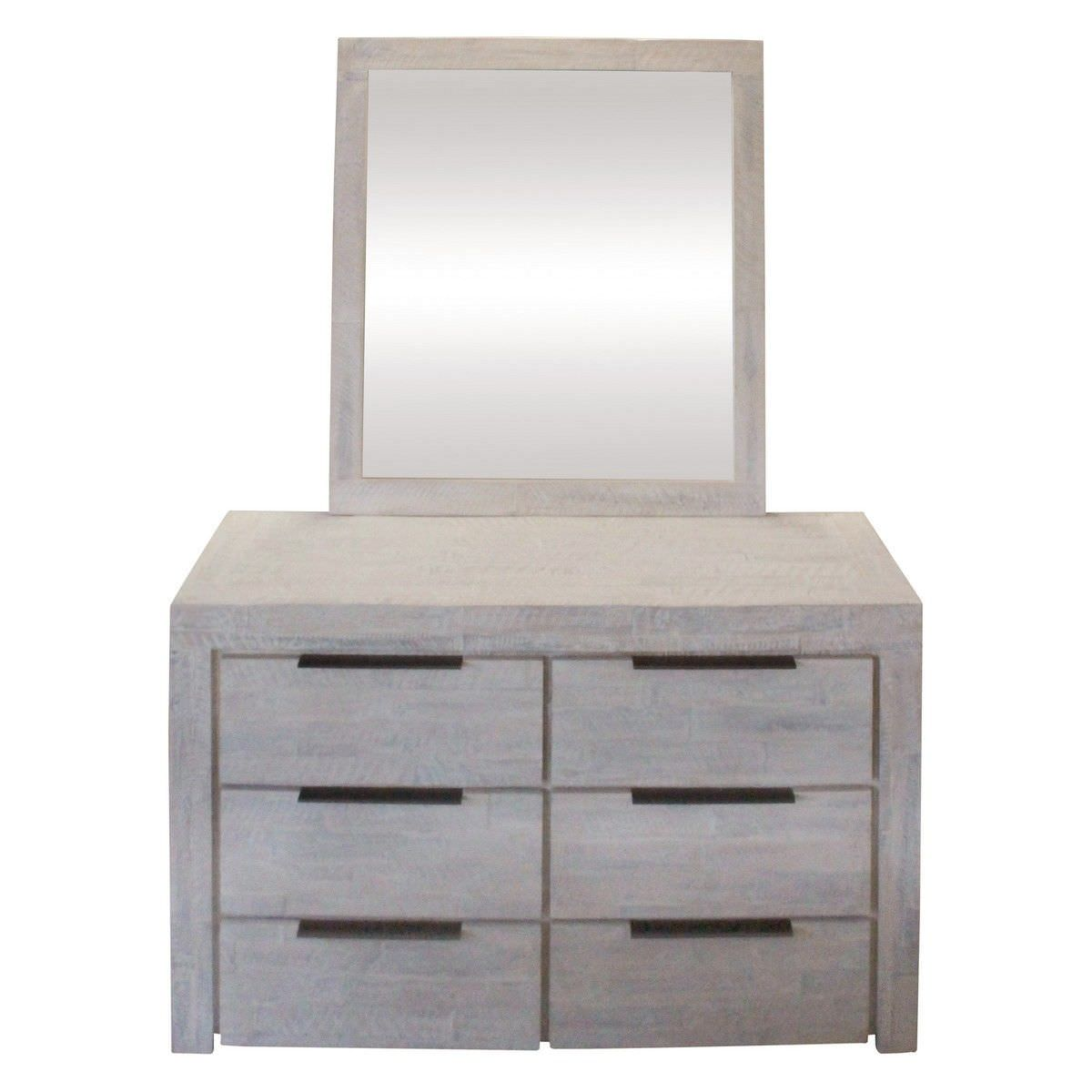 Romford Acacia Timber 6 Drawer Dresser with Mirror