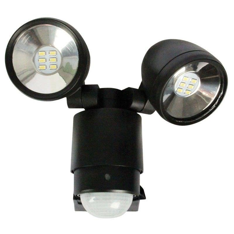 Sarus Twin LED Flood Light with Sensor - Black (Oriel Lighting)