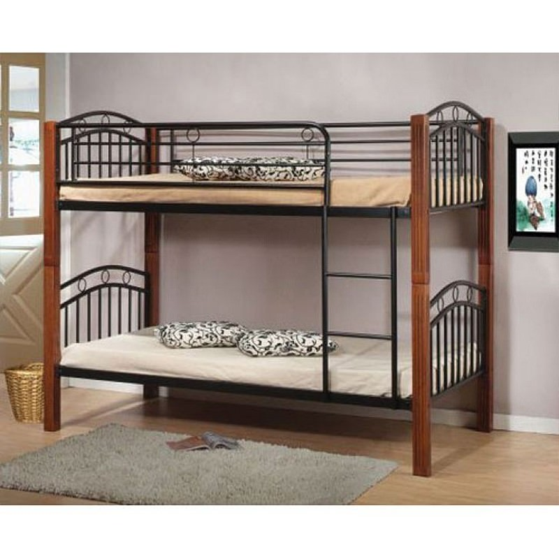 Laughlin single Metal Bunk Bed with Timber Posts