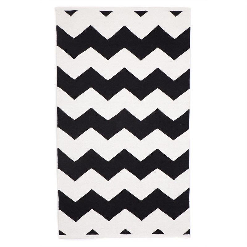 Laguna Black Small Cotton Rug - 60x90cm