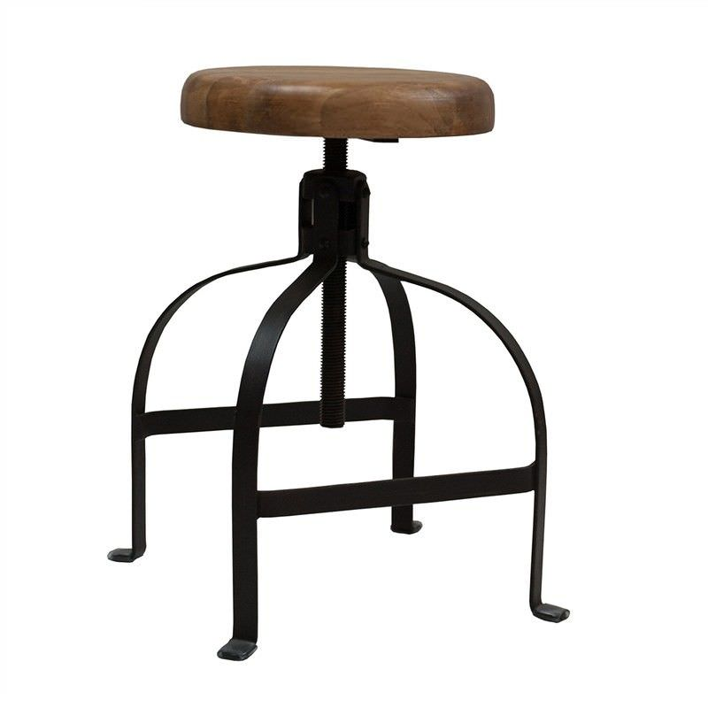 Brooke Metal Adjustable Screw Dining Stool with Timber Seat, Charcoal
