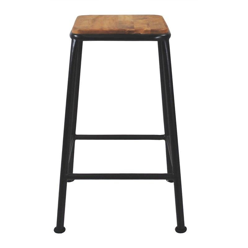 Hunston Metal Counter Stool with Timber Seat,  Charcoal