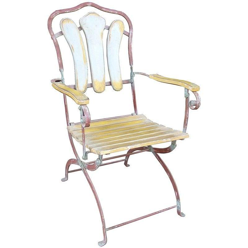 Compton Timber Slatted Metal Garden Chair