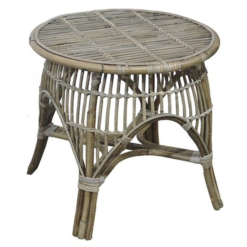 Castro Rattan Round Side Table, White Wash