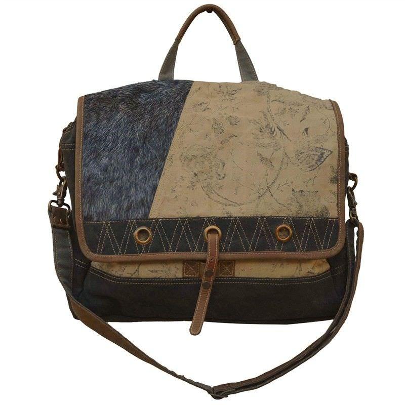 Beasley Cowhide and Canvas Satchel Bag