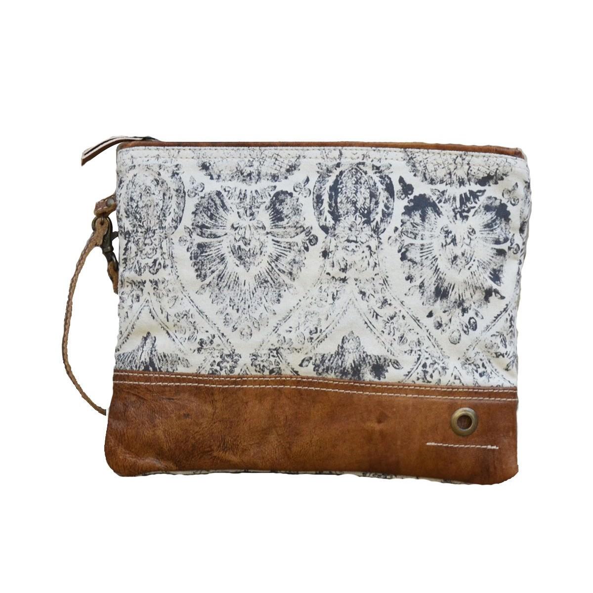 Cheyenne Damask Canvas Clutch Bag