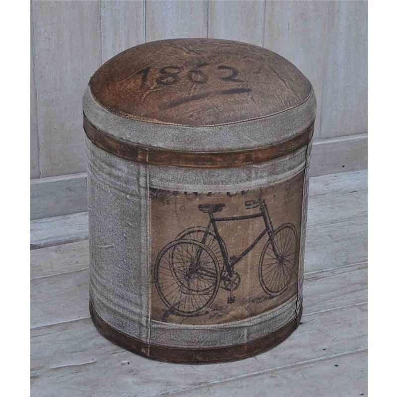 Vintage Bicycle Hand Crafted Leather and Canvsa Round Ottoman