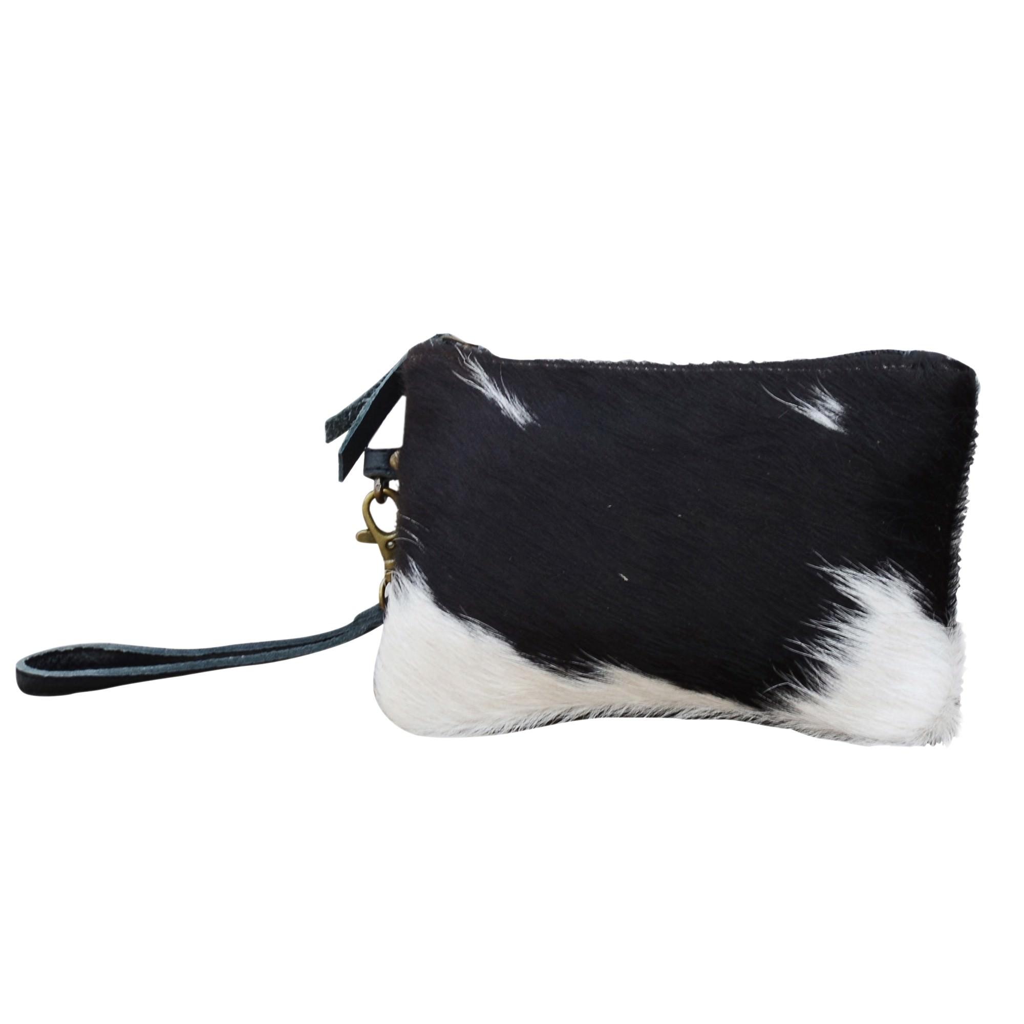 Irene Leather & Cowhide Wristlet Bag