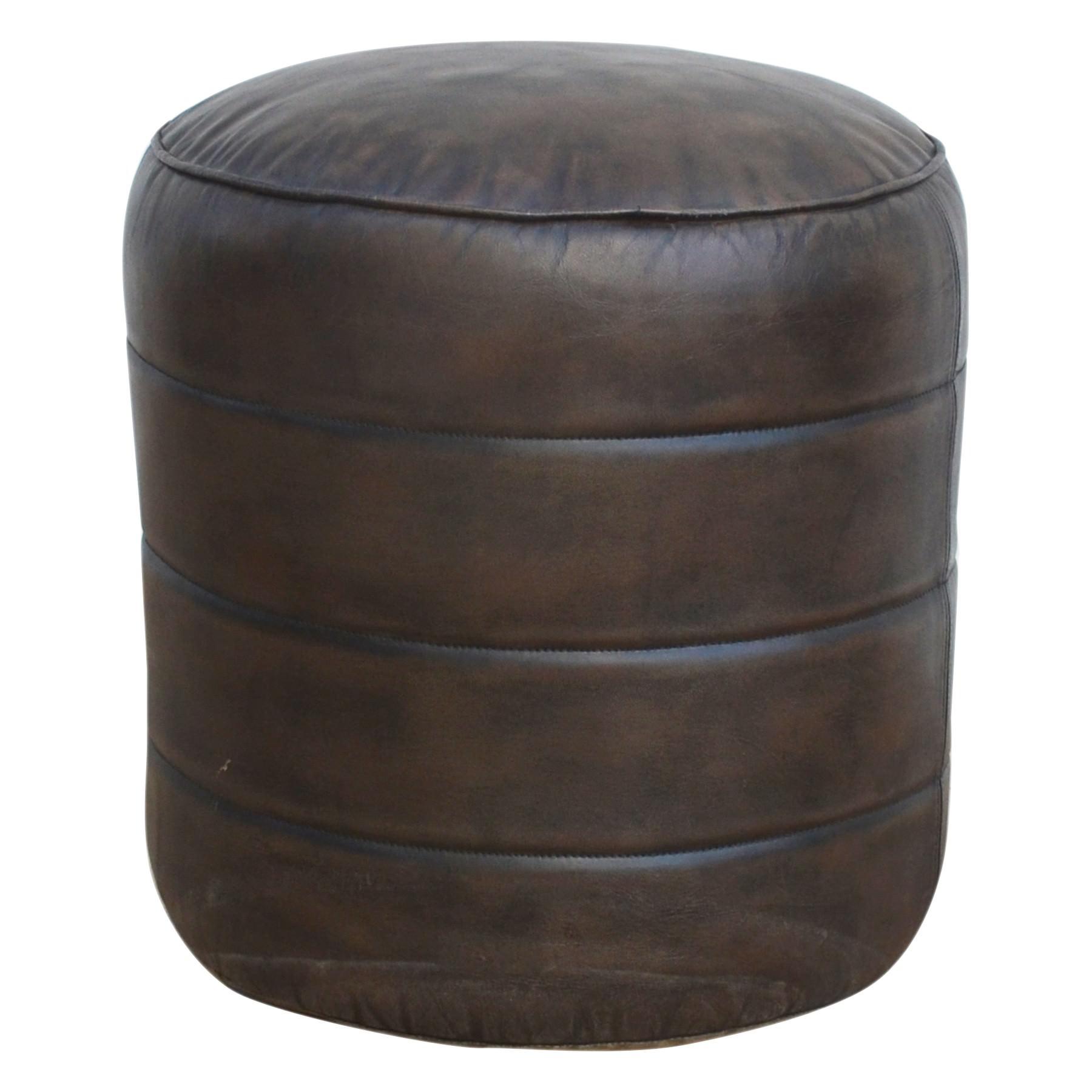 Bellhouse Vintage Leather Ottoman, Round