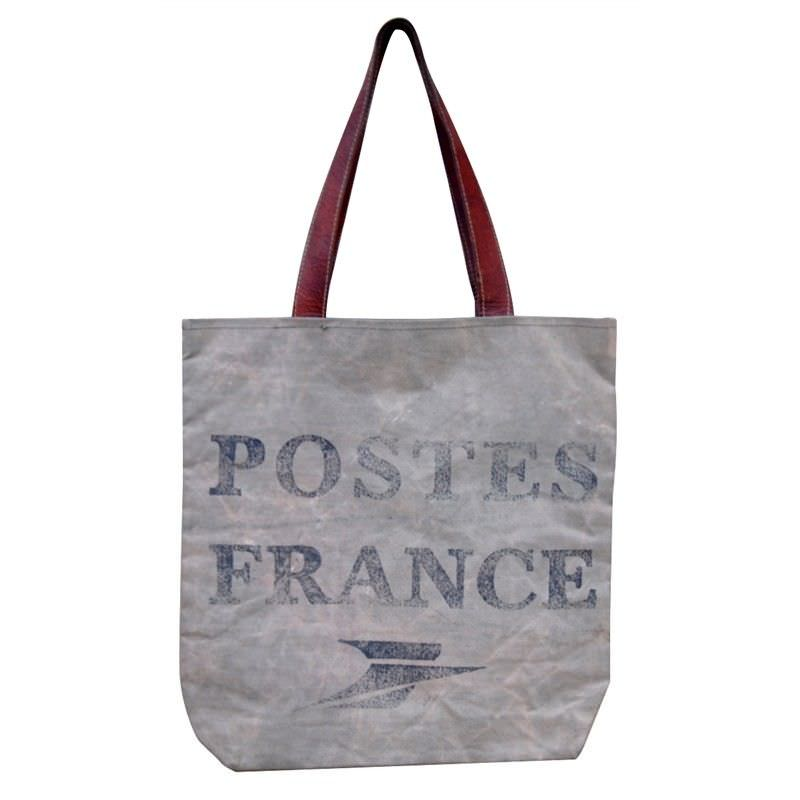 Postes France Large Canvas Bag Olive Leather Straps
