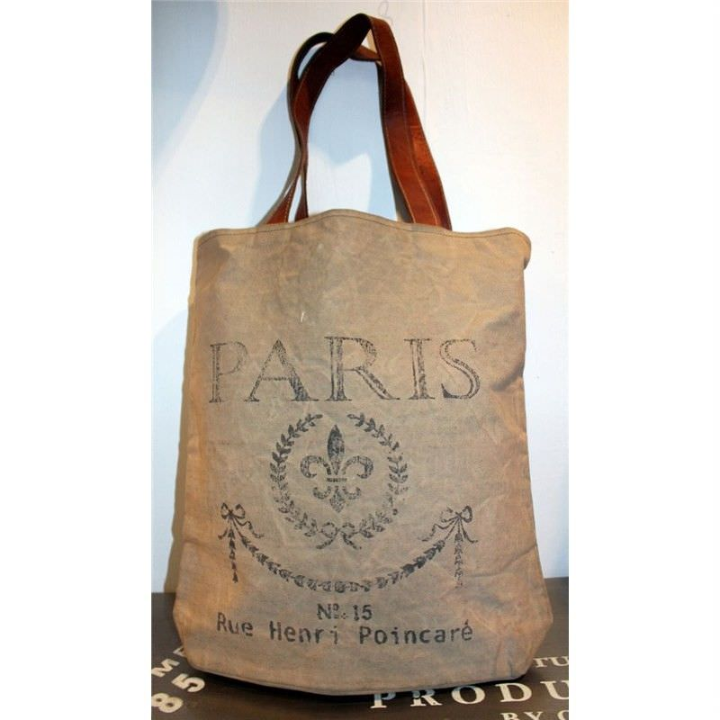 Paris Large Canvas Bag Olive Leather Straps
