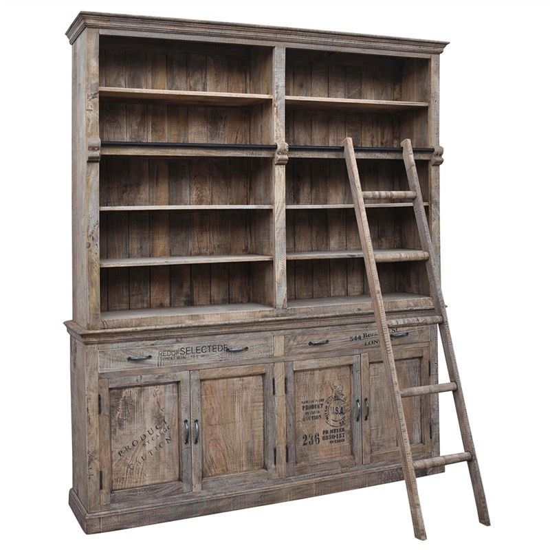 Myall Solid Mango Wood Library Bookcase With Ladder