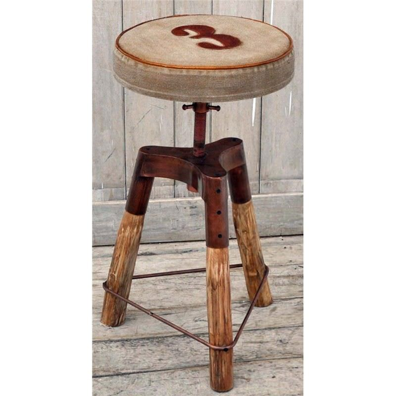 Hamilton Hand Crafted Industrial Iron and Timber Counter Stool with Canvas Seat