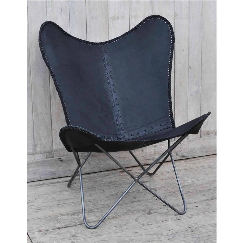 Morrow Handcrafted Leather Butterfly Chair, Black