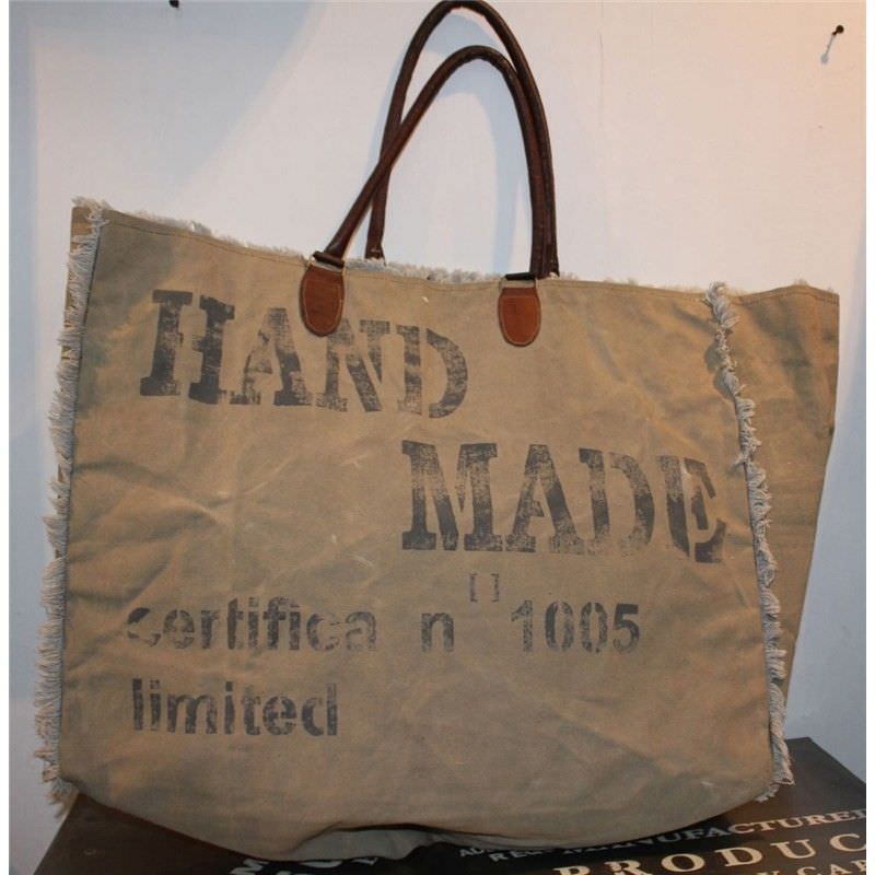 Hand Made Large Canvas Bag Olive Leather Straps
