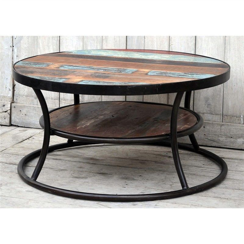 Wally Hand Crafted Recycled Mango Wood Top Iron 90cm Round Coffee Table with Shelf