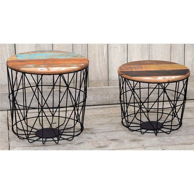 Acrobalena 2 Piece Recycled Mango Wood Top Iron Round Side Table Set