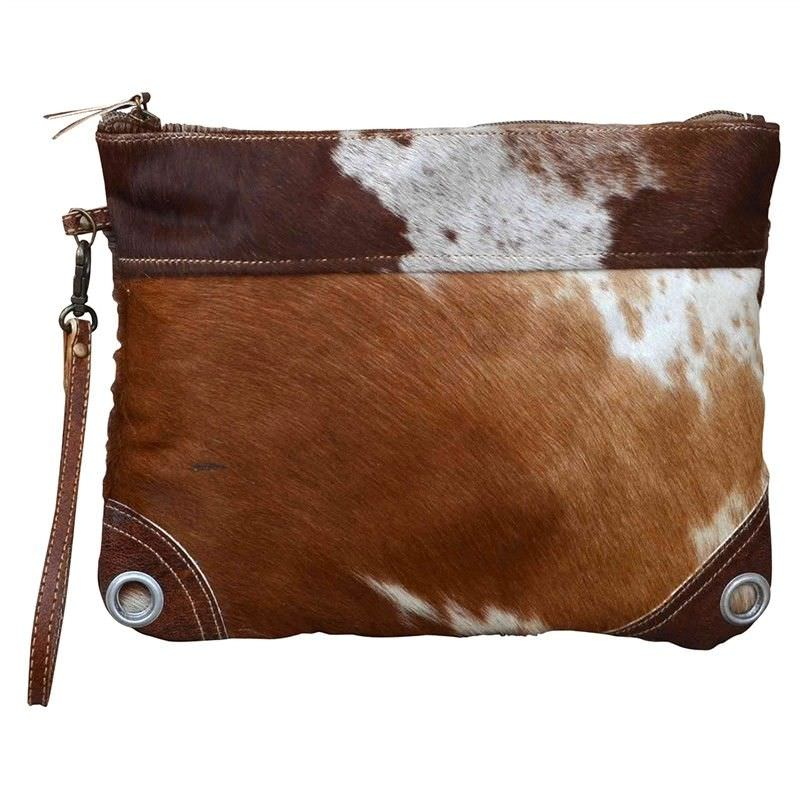 Moana Cowhide Zip Clutch Bag