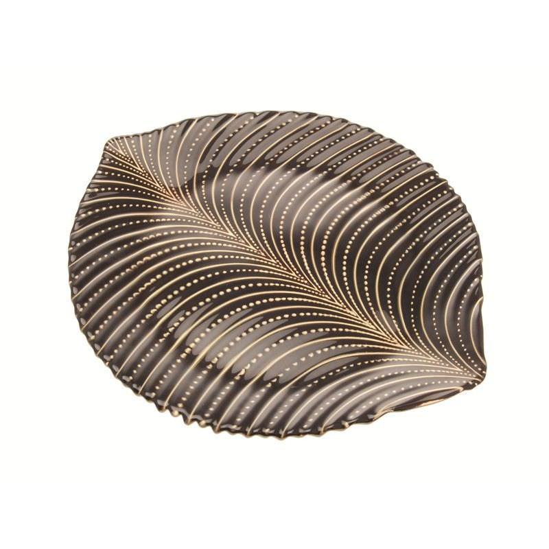 Palm Leaf Plate in Dark Brown