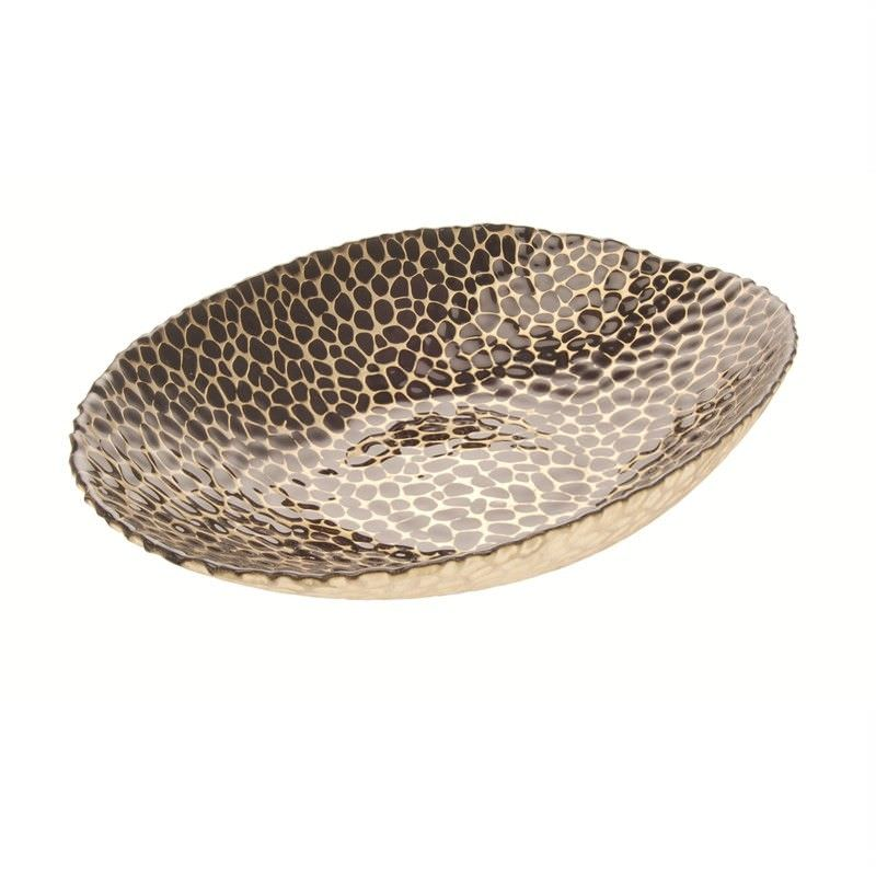Patterned Oval Bowl in Brown - L