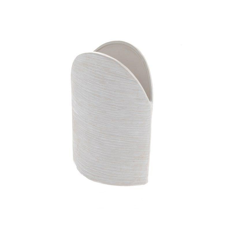White Flat Round Vase 23cm High