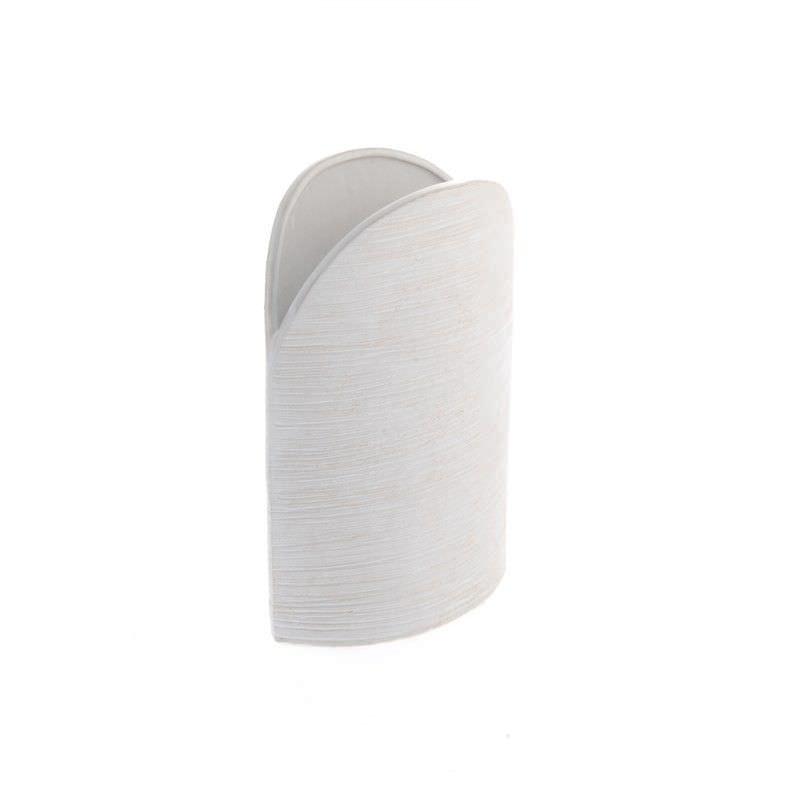 White Flat Round Vase 26cm High