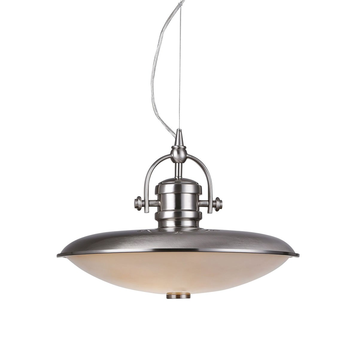 Mainz Metal & Glass Pendant Light, Nickel