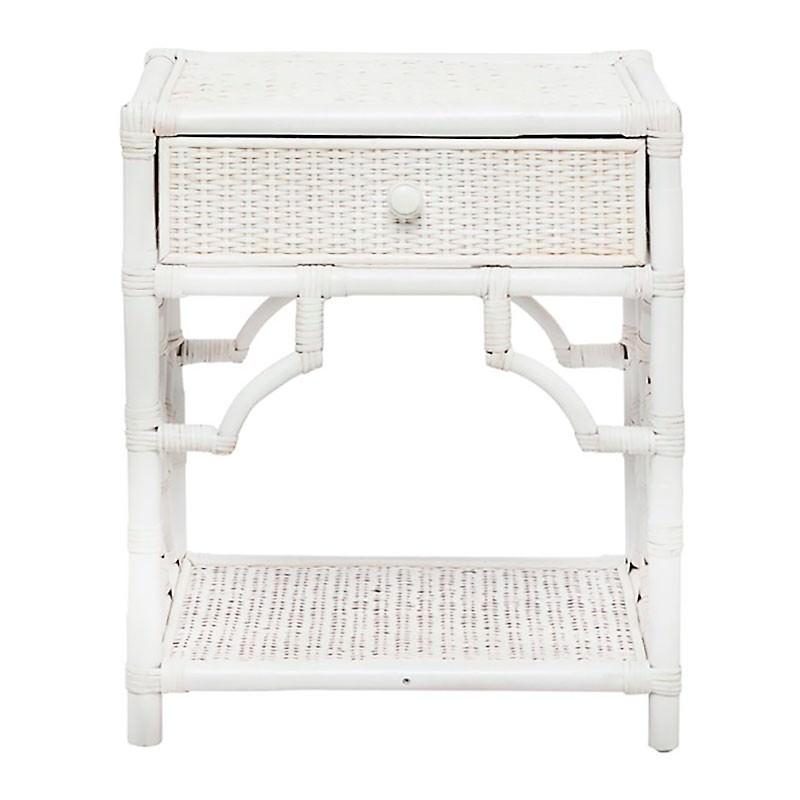 Maison Rattan Bedside Table, White