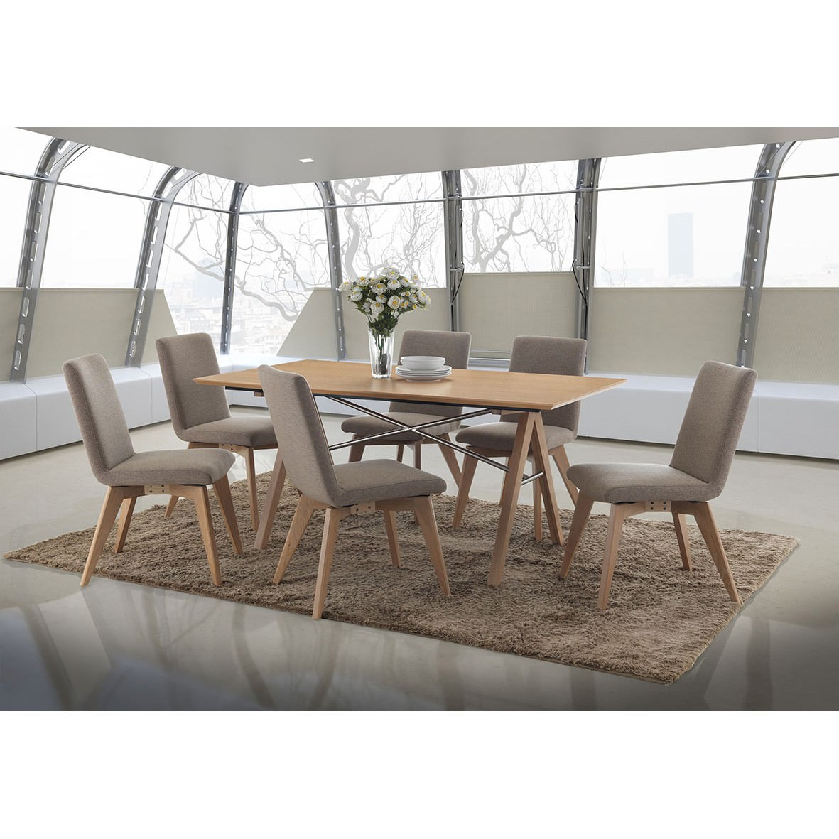 Royce 7 Piece American Oak Timber Dining Table Set, 167cm, Brown Chairs