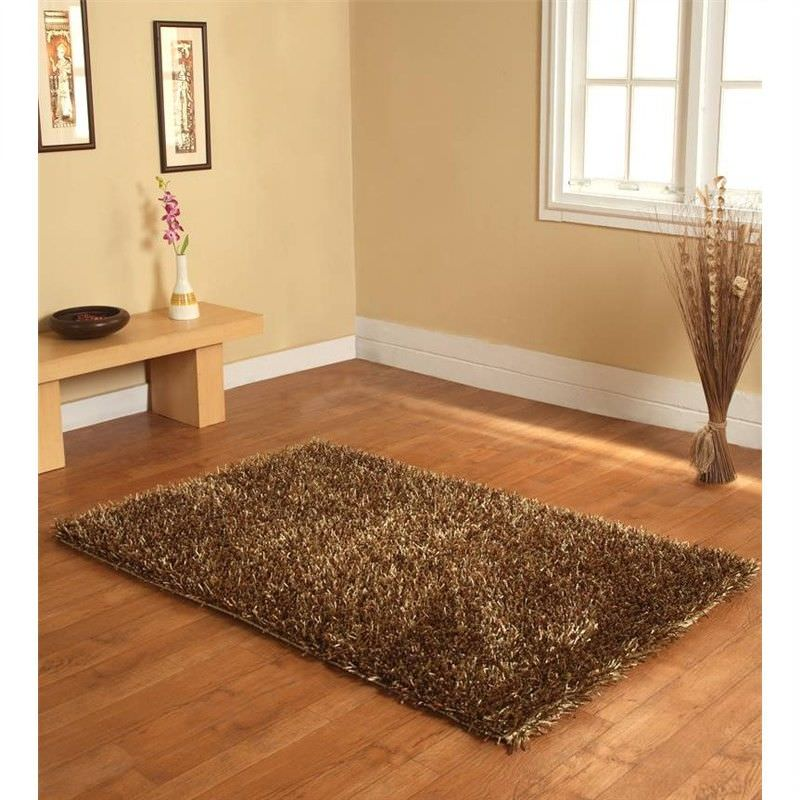Handmade Shaggy Rug - Plain Brown3-Gold 160 X 230CM