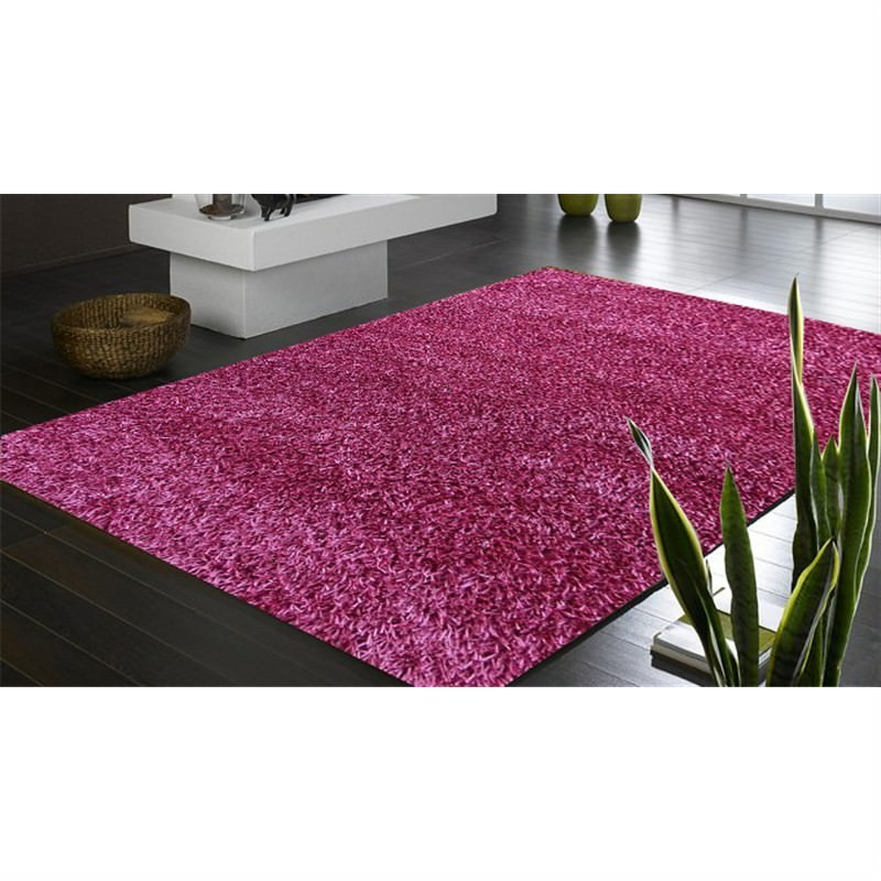 Handmade Shaggy Rug - Plain Pink 160 X 230CM