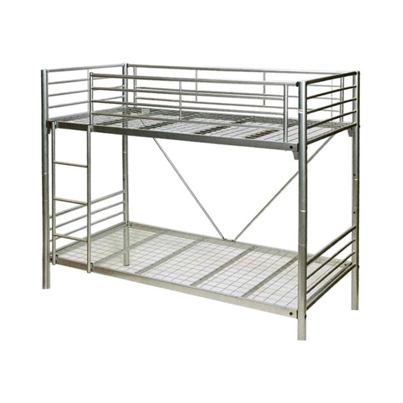 Matrix Single Bunk Bed Metal Tubular Steel Silver