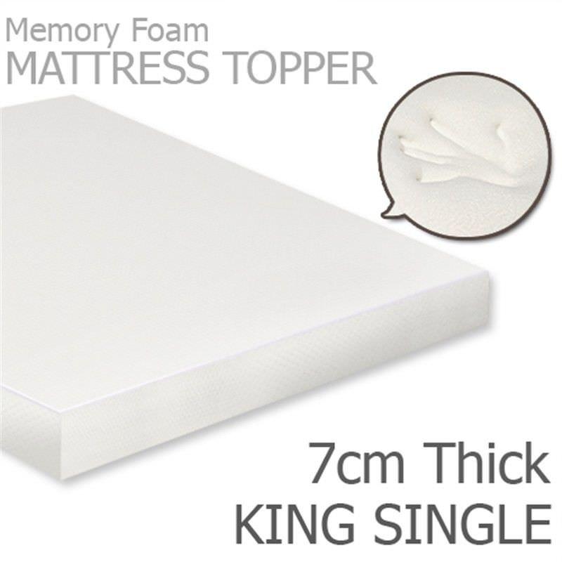Visco Elastic Memory Foam Mattress Topper, 7cm Thickness, King Single