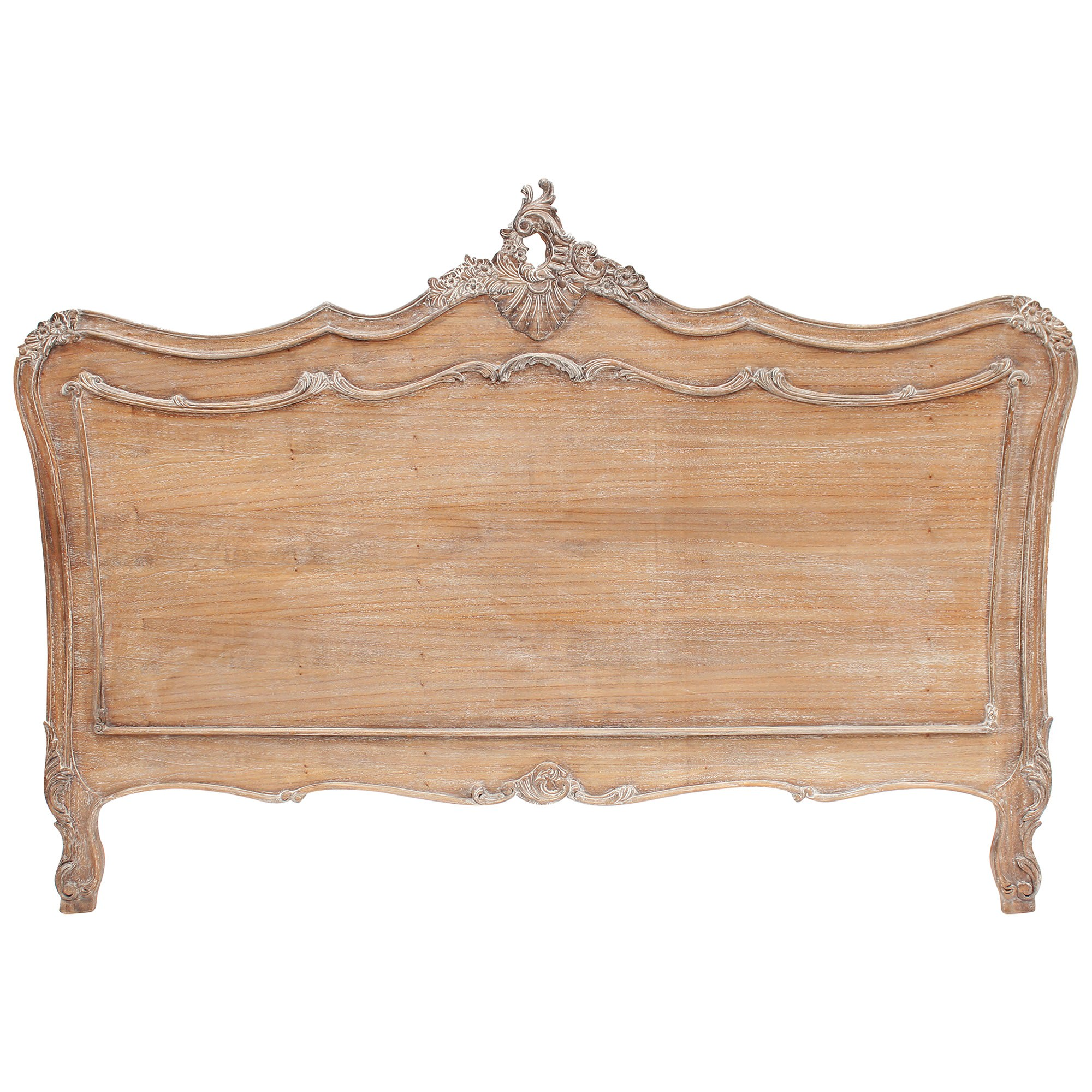 Fourchambault Hand Crafted Mahogany Queen Size Headboard, Weathered Oak