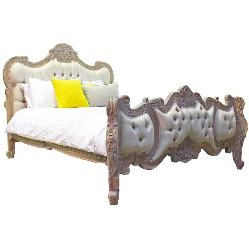 Riom Hand Crafted Mahogany Upholstered Queen Bed, Weathered Oak