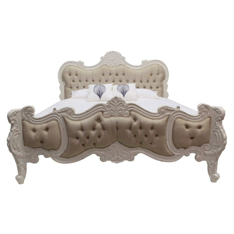 Riom Hand Crafted Mahogany Upholstered Queen Bed - Distressed White