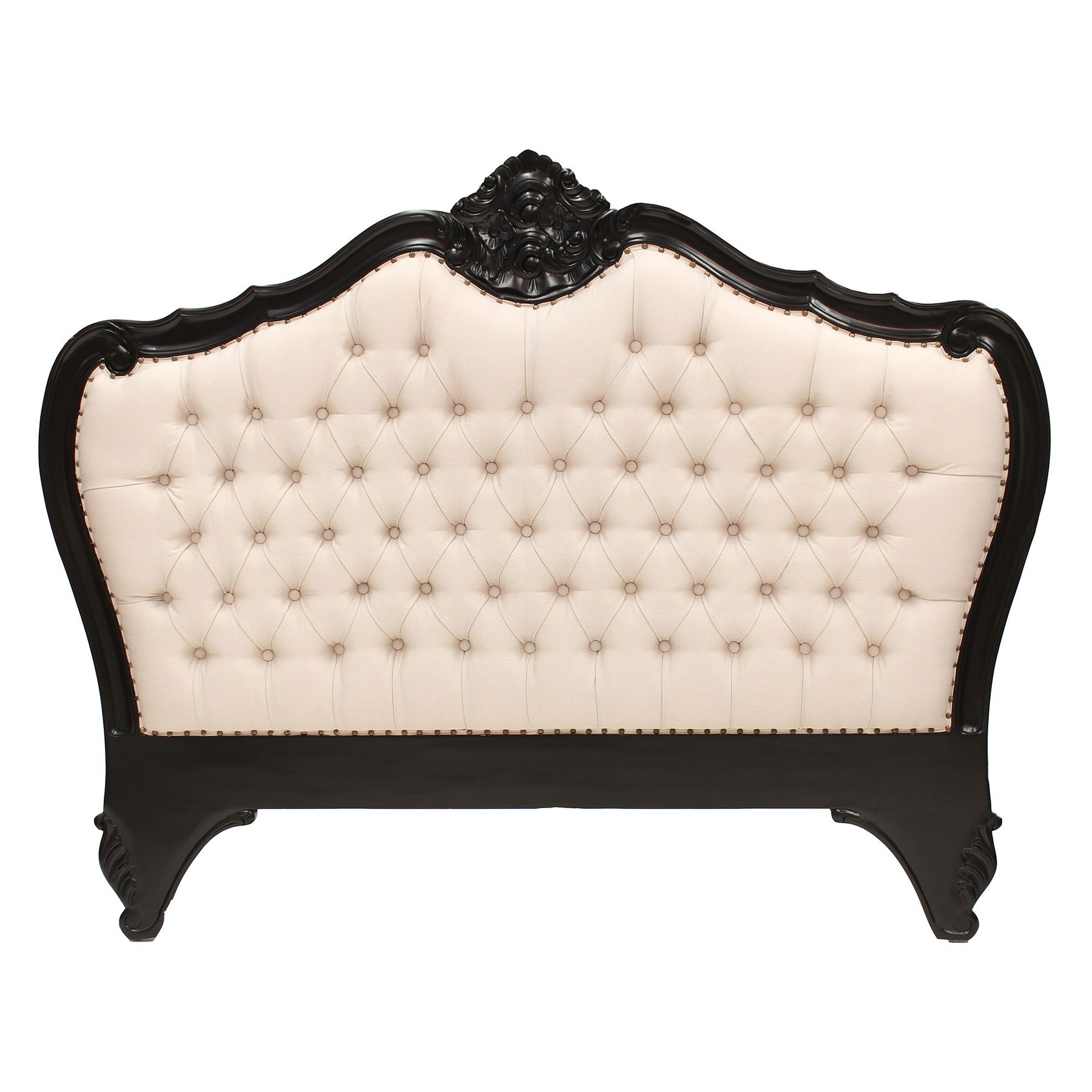 Challuy Hand Crafted Mahogany Upholstered Queen Size Bedhead, Black