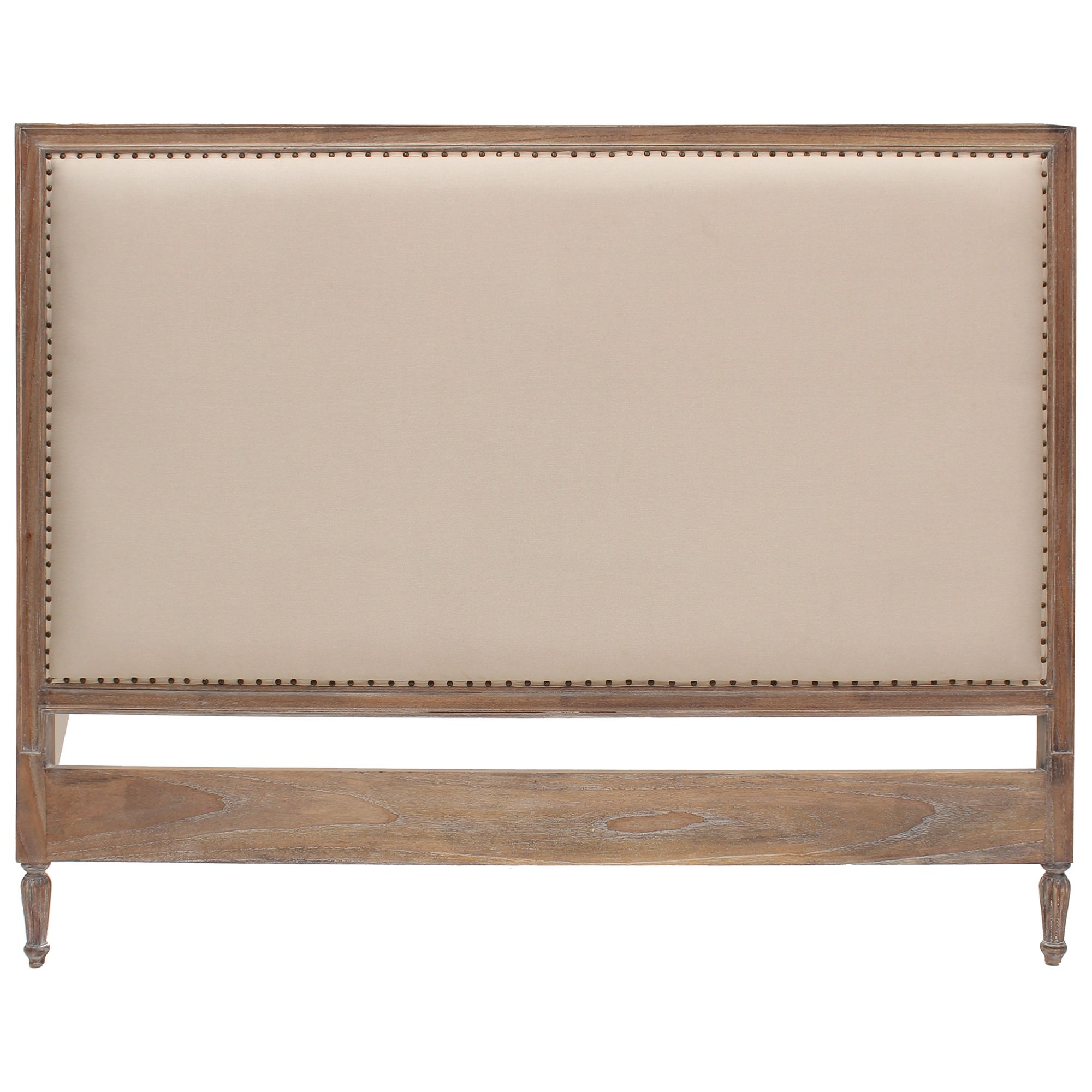 Ygrande Hand Crafted Mahogany Upholstered Queen Size Headboard, Weathered Oak