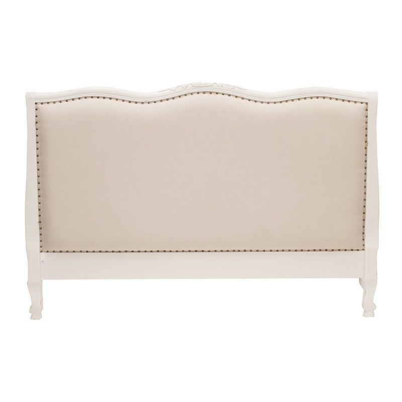 Souvigny Hand Crafted Mahogany Upholstered Queen Size Bedhead - Distressed White