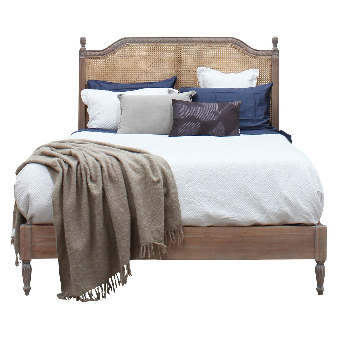 Lapalisse Handcrafted Mind Wood & Rattan Bed, Queen, Weathered Oak