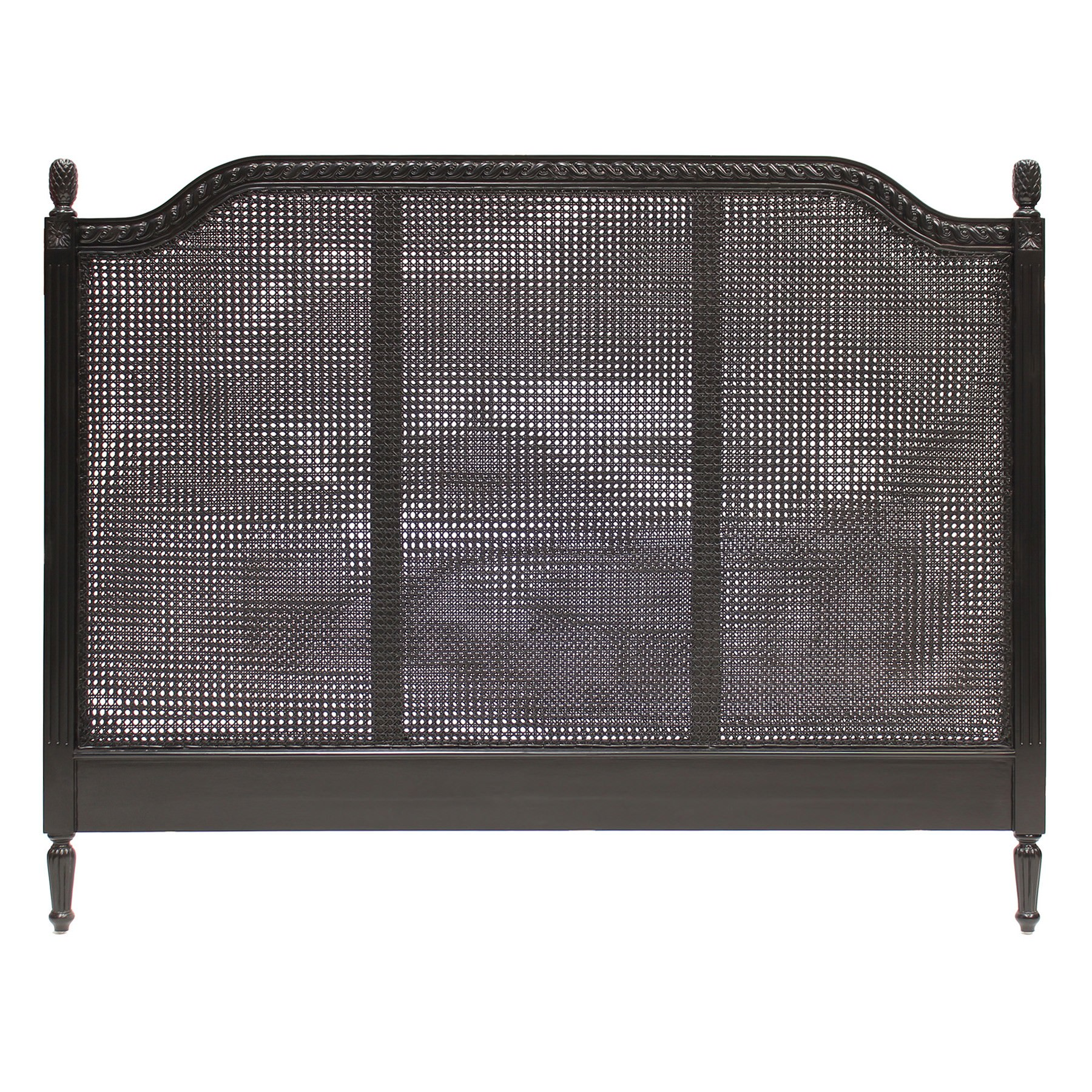 Lapalisse Hand Crafted Mahogany Timber & Rattan Bed Headboard, King, Black