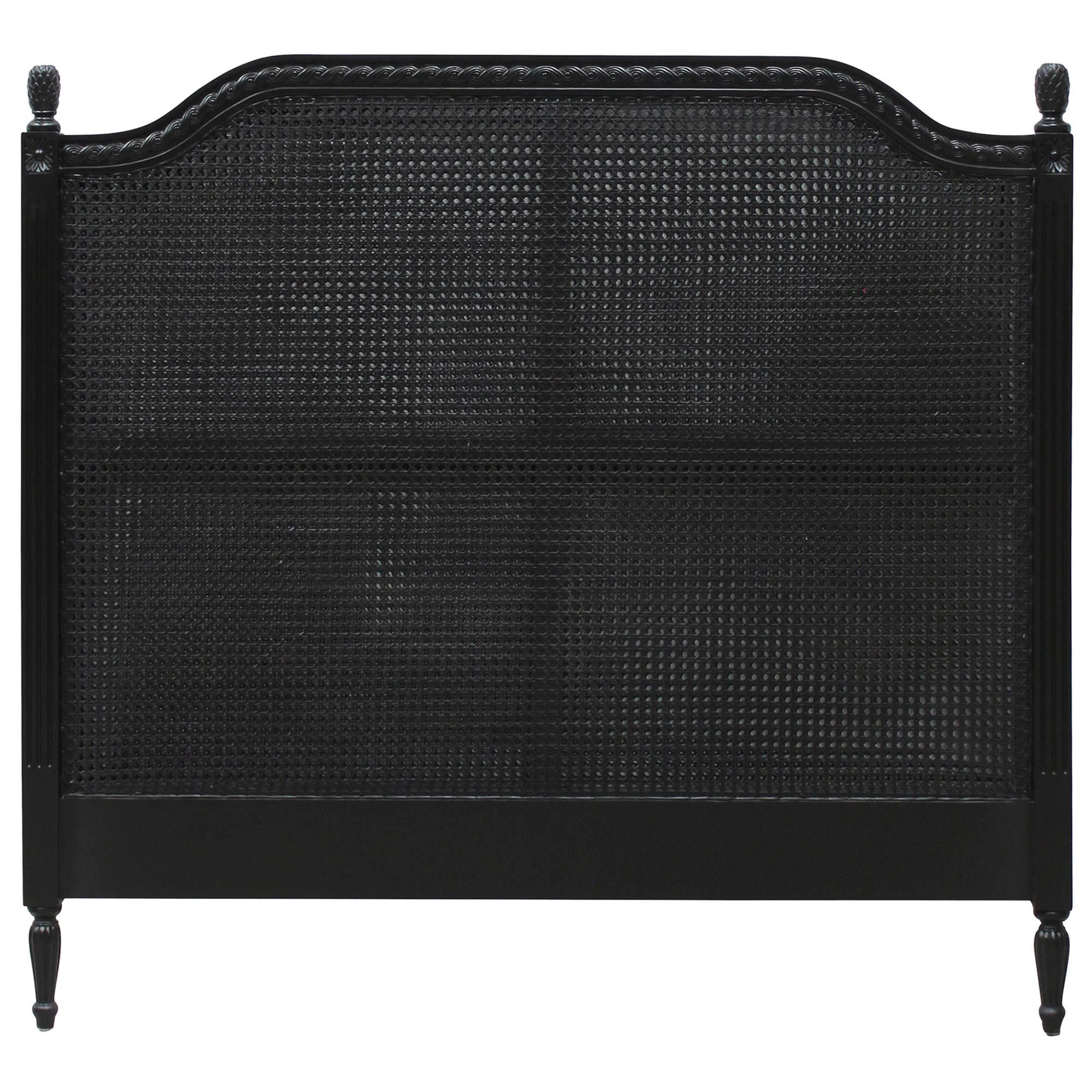 Lapalisse Hand Crafted Mahogany Timber & Rattan Bed Headboard, Queen,  Queen, Black