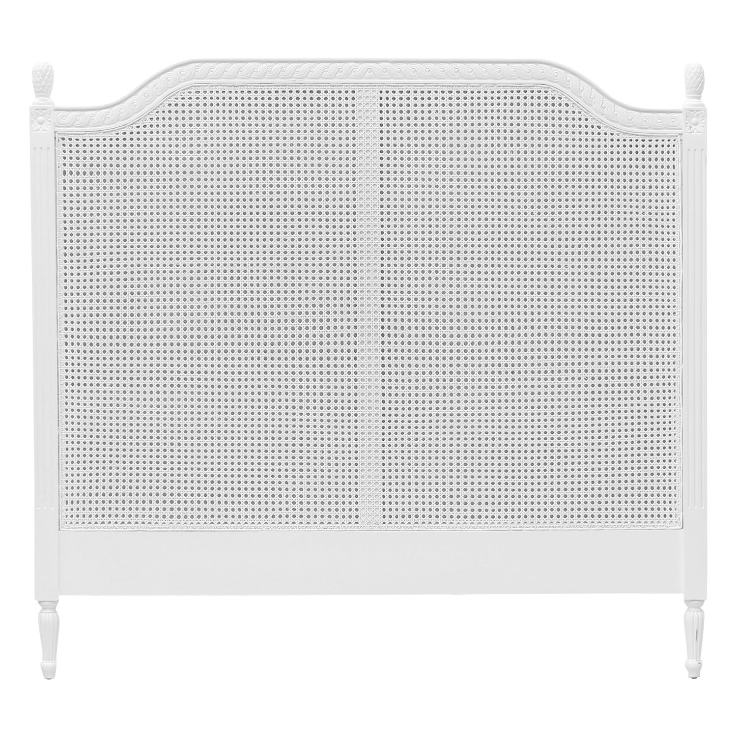 Lapalisse Hand Crafted Mahogany Timber & Rattan Bed Headboard, Queen, White