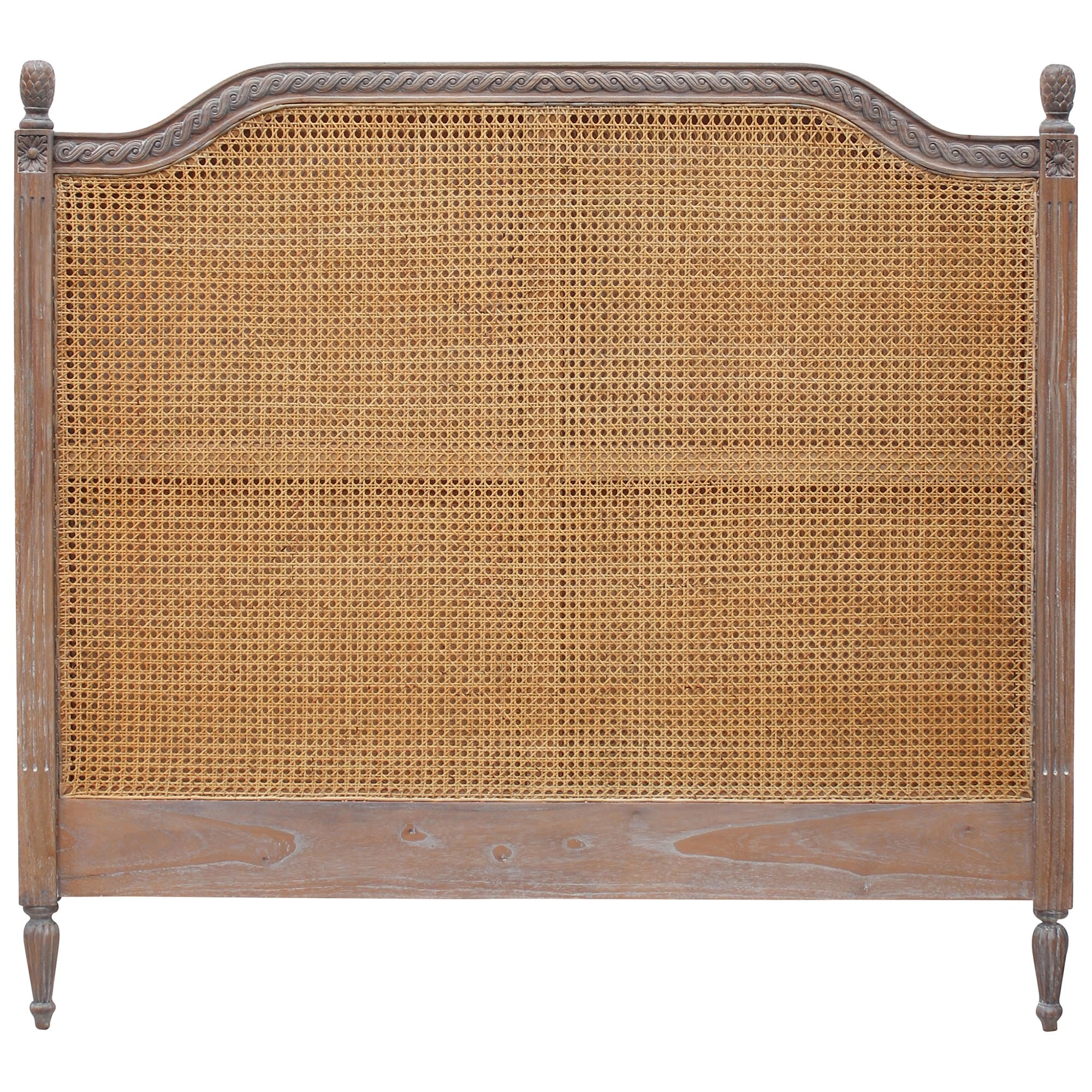 Lapalisse Hand Crafted Mahogany Timber & Rattan Bed Headboard, Queen, Weathered Oak